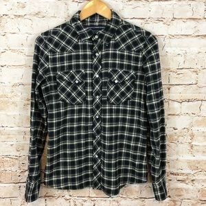 Ralph Lauren Flannel western shirt 12 black plaid